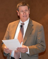 Dr. John Waddell kicks off the BIVI Swine Health Seminar in Dallas, Texas on February 28, 2014.
