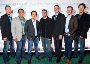 "Director James Moll (3rd from left) and film editor Tim Calandrello pose with farmers David Loberg, Leighton Cooley, Sutton Morgan, Ryan Veldhuizen and Brad Bellah attend the Private New York Premiere of ""Farmland"" during the Tribeca Film Festival (Getty Images)"