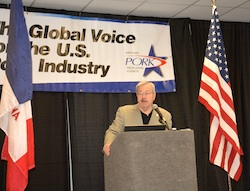 "Iowa Governor Terry Branstad delivers the ""State of Agriculture"" during the 2015 World Pork Expo."