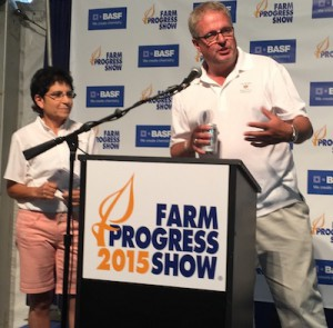 USFRA Chairwoman and Wisconsin farmer Nancy Kavazanjian along with USFRA CEO Randy Krotz answer questions during the 2015 Farm Progress Press Conference about USFRA's new sustainability research survey.