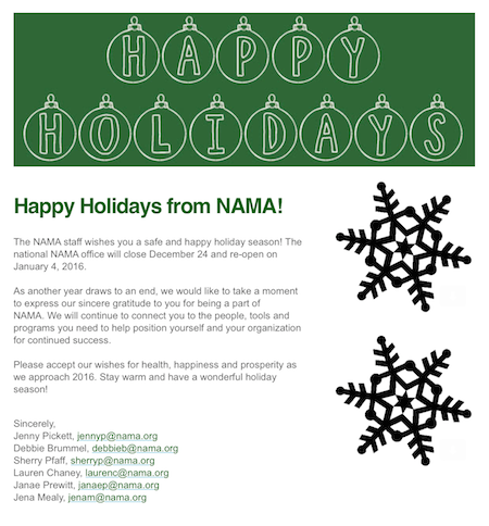 Happy Holidays from NAMA | AgWired