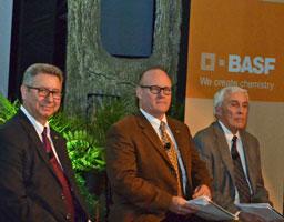 LtoR - Max Safarpour and Luke Bozeman of BASF, NC State Professor Harold Coble