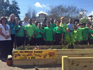 Benjamin Franklin Elementary students with new pollinator patch