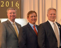 LtoR: ASTA officers Jerry Flint, DuPont Pioneer; Tracy Tally, Justin Seeds; Mark Herrmann, AgReliant Genetics