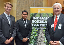 L-R Purdue students Andrew Cameron and Harshit Kapoor with Ed Ebert, Indiana Soybean Alliance