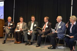 Disruptive Innovation: Not Just for Silicon Valley was the second panel discussion during the Rural Infrastructure Summit in Ames, Iowa. From left to right: Bert Farrish, Kevin Kimble, Darryl Matthews, John Engelen, Andrew Jacob and Sara Wyant.