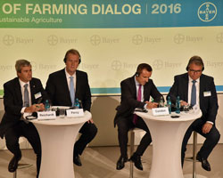 Bayer CropScience Executive Committee Members Marc Reichardt, Dr. Adrian Percy, Liam Condon, and Bernd Naaf